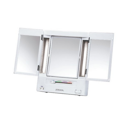 Jerdon Tri-Fold, 2-Sided Magnification Makeup Mirror-Rectangular