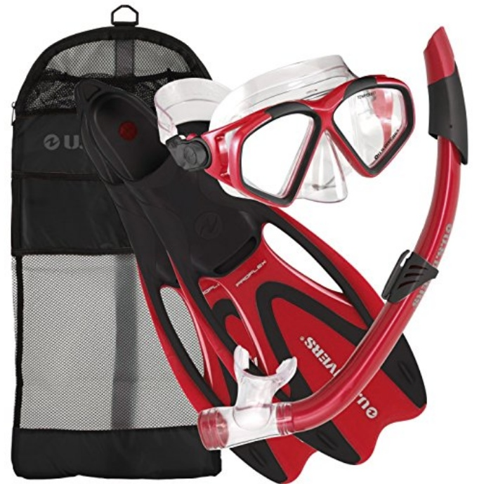 US Divers Snorkel Kit — Mask, Snorkel, Fins & Travel Bag —  Available in 5 Colors & 4 Sizes