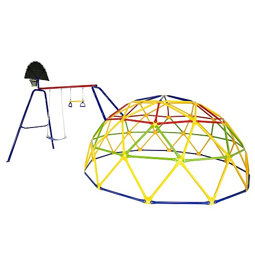 Skywalker Sports 10' Geo Dome Climber with Metal Swing Set