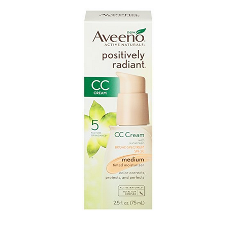 Aveeno Positively Radiant CC Cream Medium Tinted Moisturizer-SPF 30