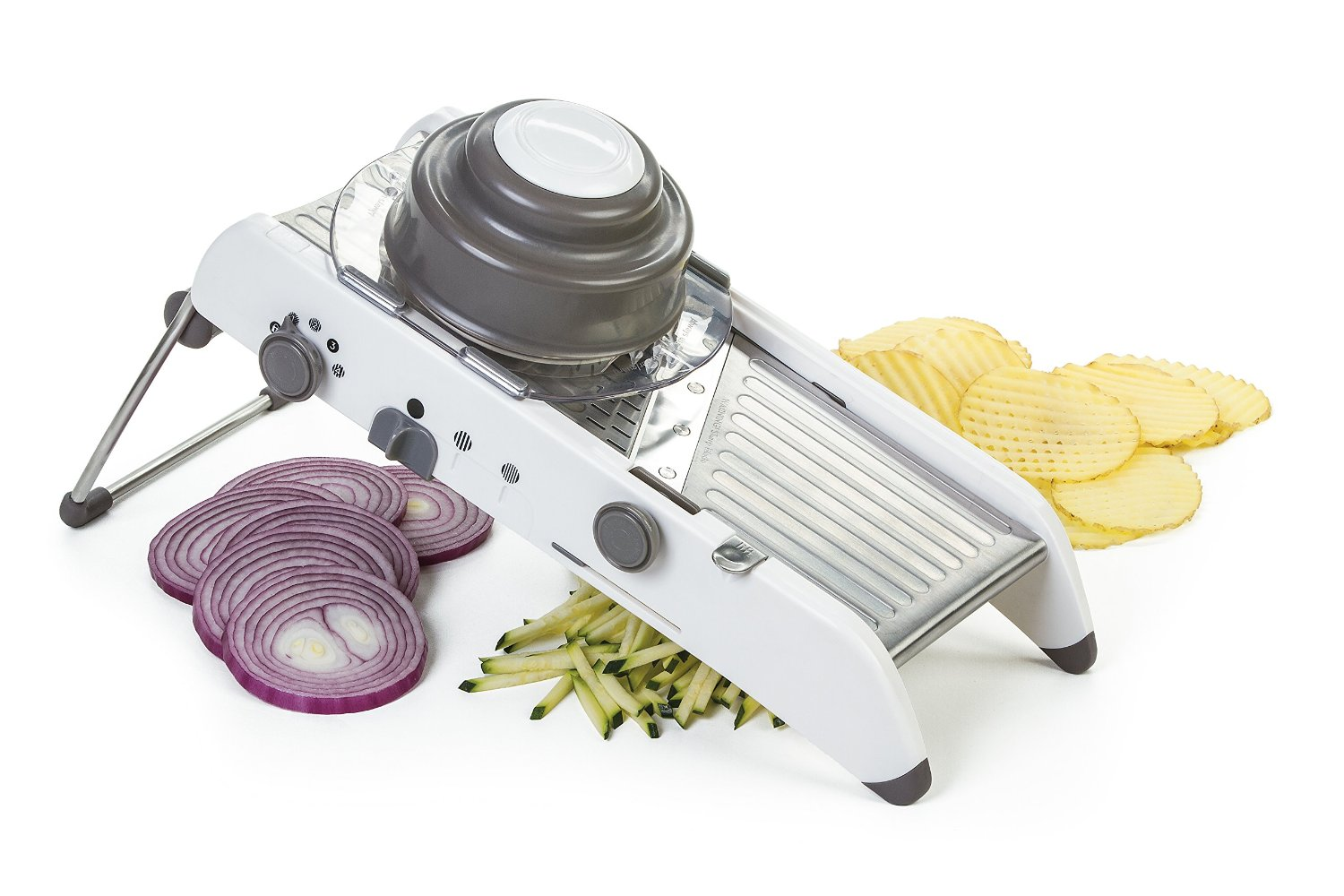 Progressive International PL8 Mandoline Slicer – 4 Adjustable Slicing Thicknesses, Extra-wide Stainless Slicing Deck
