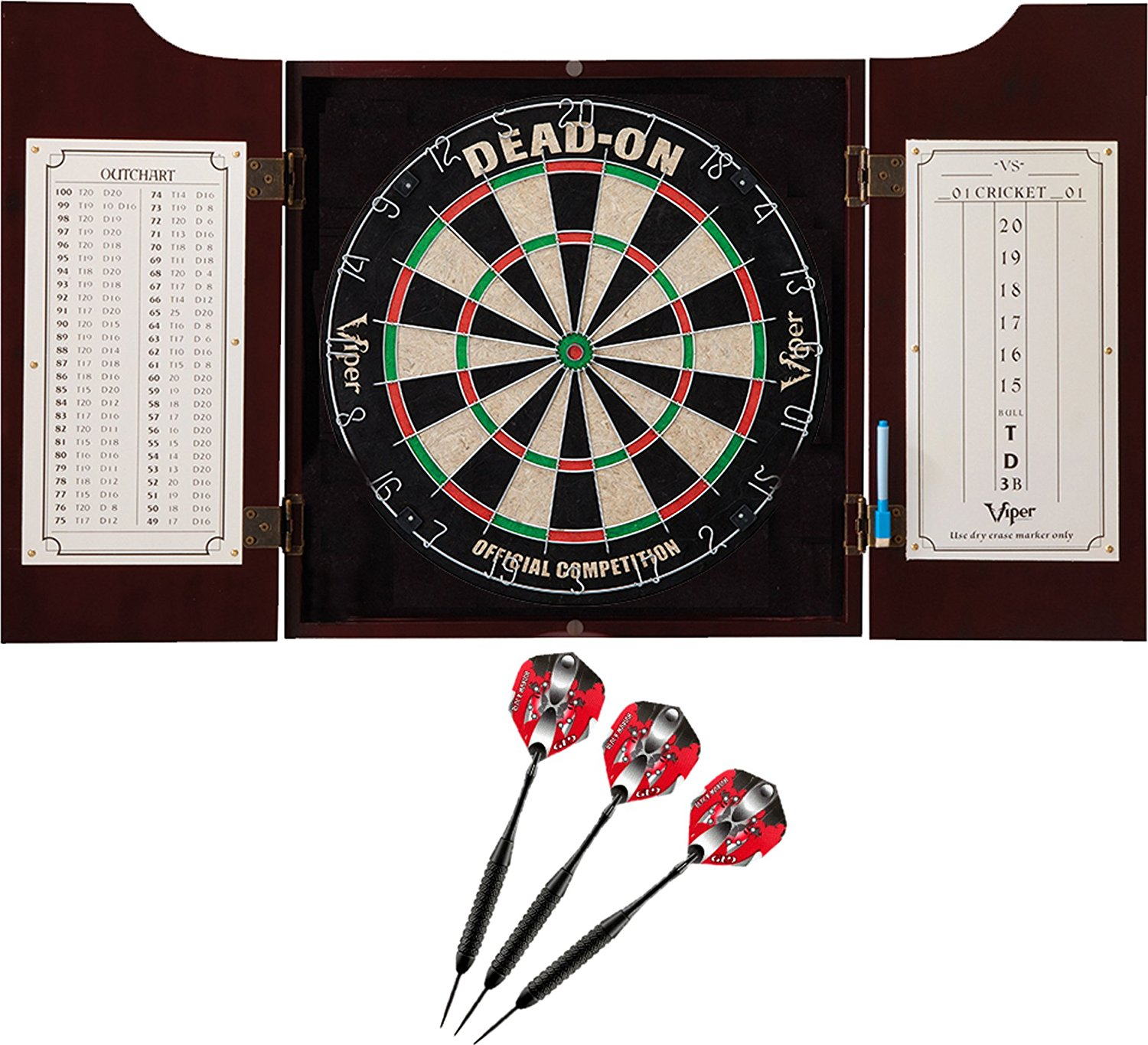 GLD Products Viper Hudson Sisal/Bristle Steel Tip Dartboard & Cabinet Bundle, Available in 4 Different Sets.