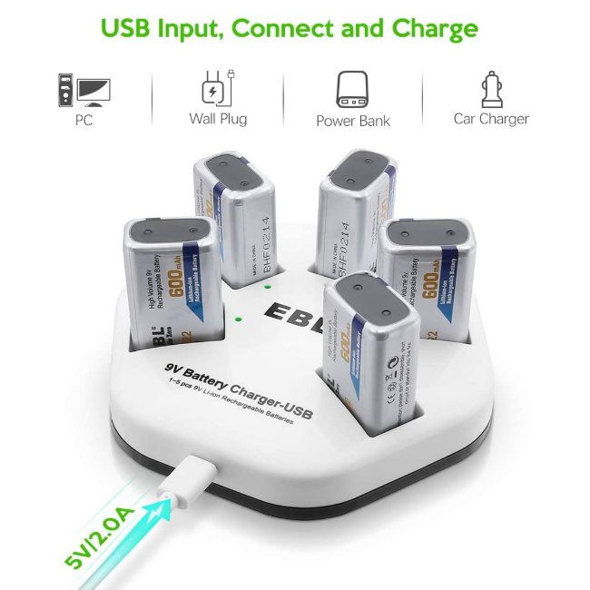 EBL Rechargeable 9V Lithium Batteries with Charger