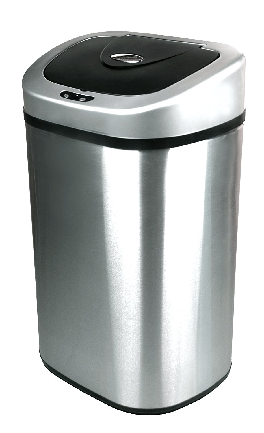 Nine Stars Touchless Stainless Steel Garbage Can with Water Resistant Infrared Motion Sensor – Available in Multiple Sizes