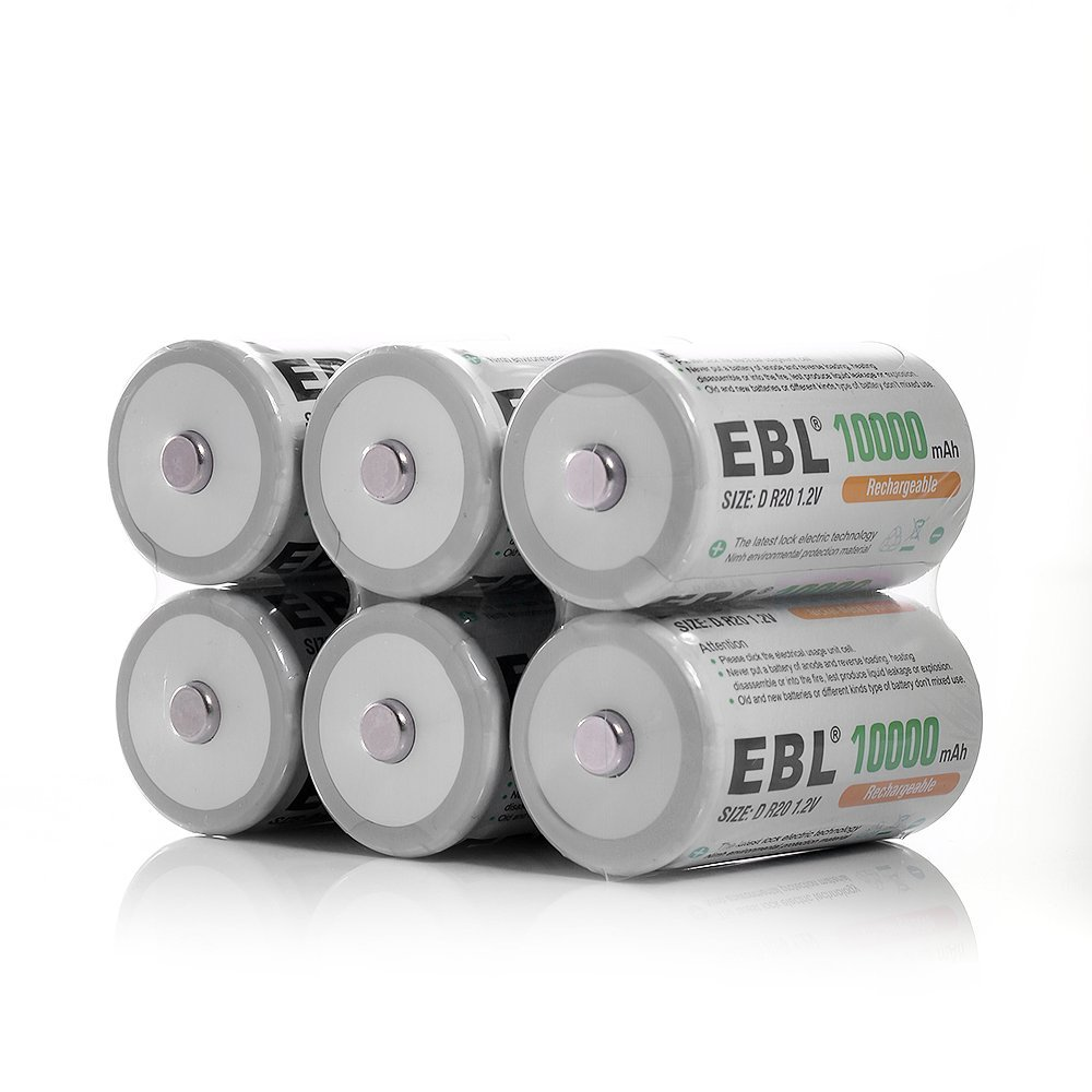 EBL® Rechargeable D Batteries