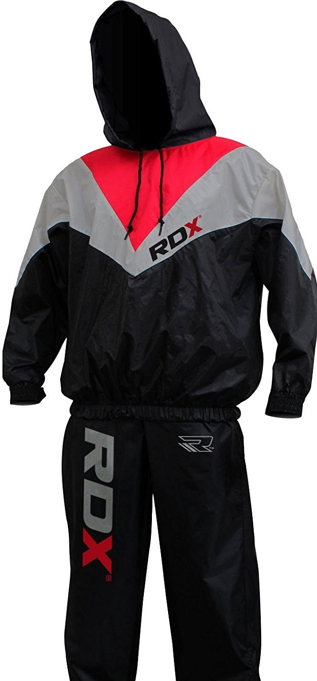RDX Non Rip MMA Slimming Sauna Sweat Suit for Track, Weight Loss, Fitness, Gym, & Exercise Training – Red or Black
