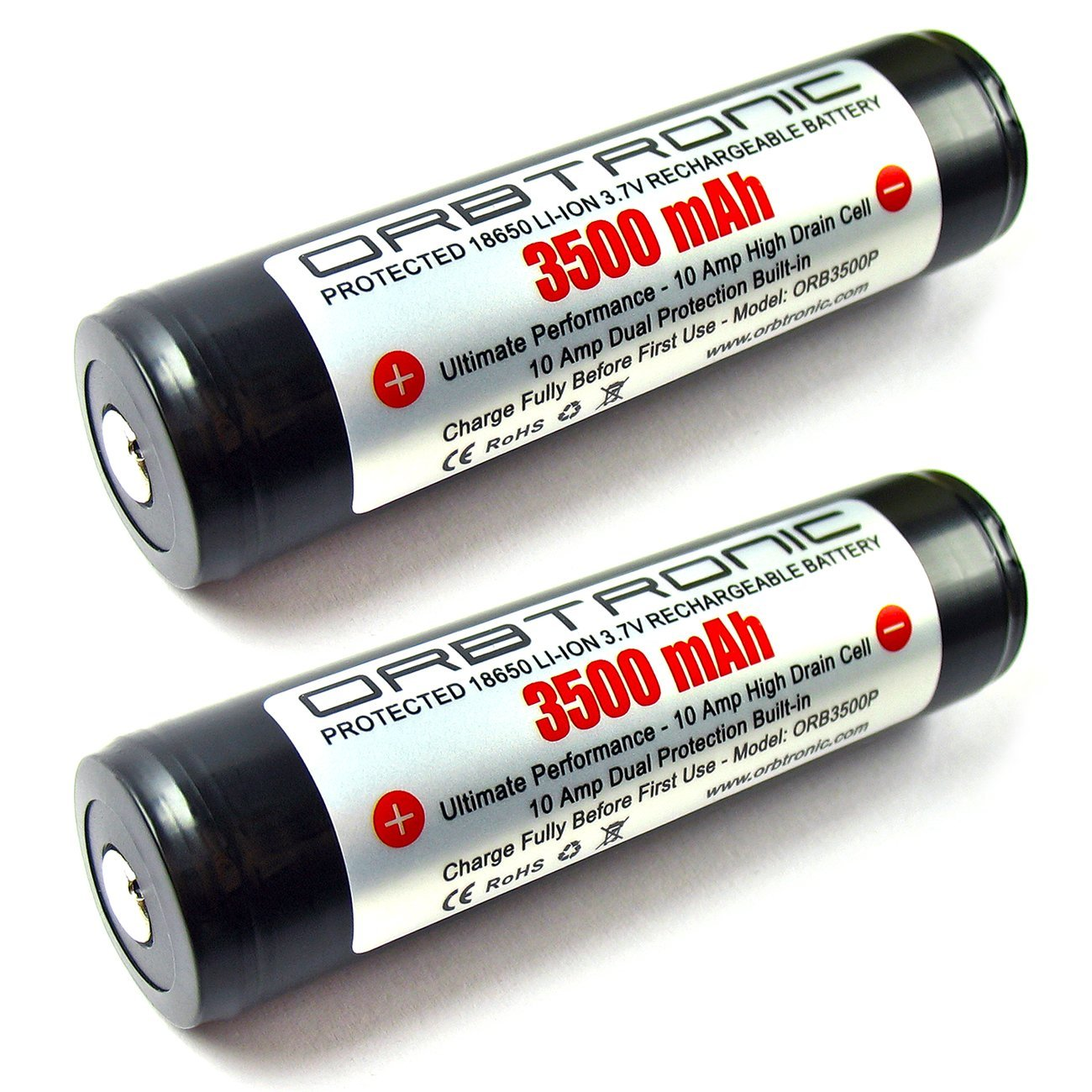 ORBTRONIC Protected Rechargeable Button Top High Performance Li-ion Batteries – Good for High-Power Flashlights