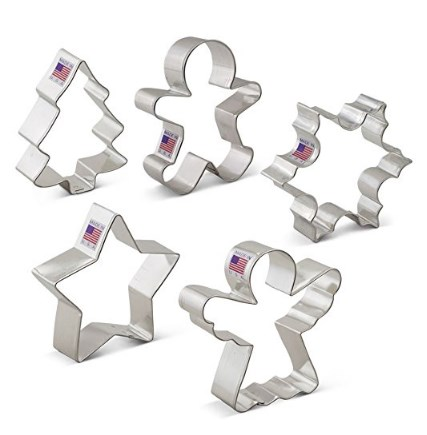 Ann Clark Cookie Cutters Christmas / Holiday Cookie Cutter Set - 5 Piece - Snowflake, Star, Christmas Tree, Gingerbread Man and Angel