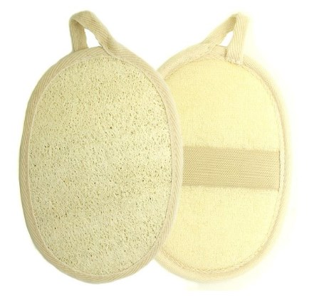 Kiloline Exfoliating Loofah Pads, 2 Pack - 100% Natural Luffa and Terry Cloth Materials