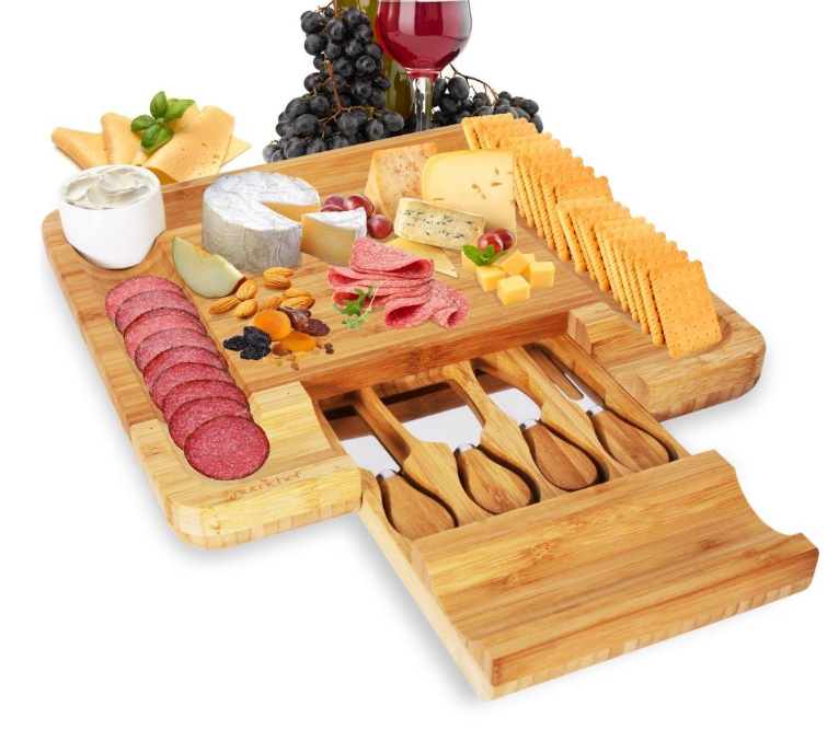 NutriChef Bamboo Cheese Board Set