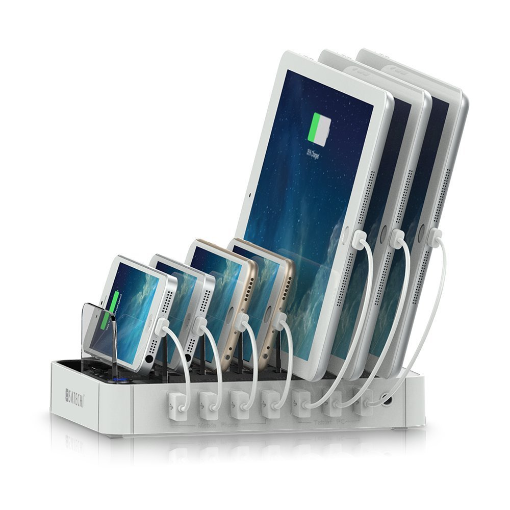 Satechi 7-Port USB Charging Station Dock for Smartphones, Tablets, Music Players, Cameras, and More -- Available in Black or White