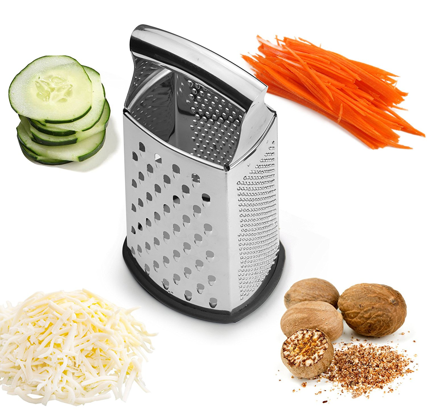 Spring Chef Professional Extra Large Box Grater and Shredder - Stainless Steel Manual Cheese Grater with 4 Sides, Good for Grating Cheese, Vegetables and More, 2 Sizes Available