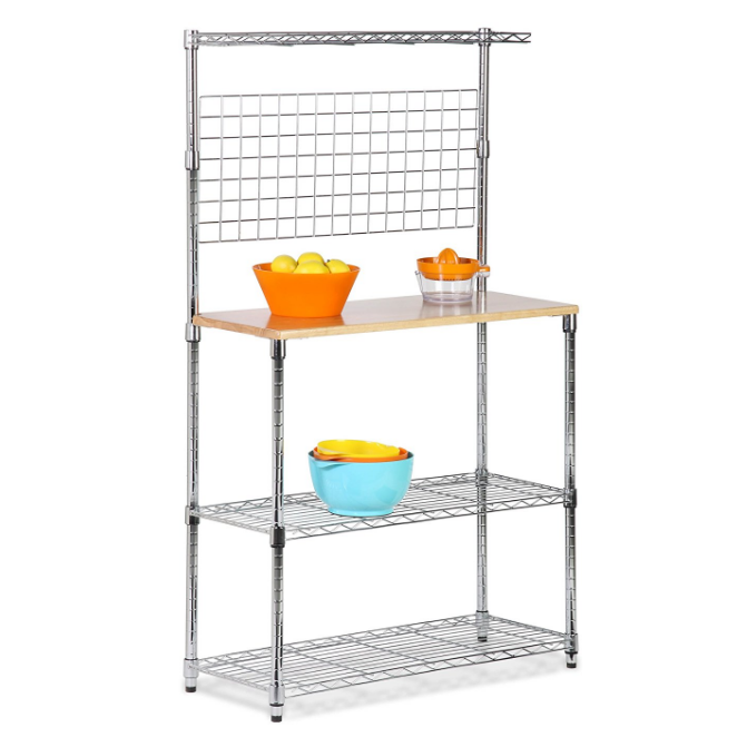 Honey-Can-Do Baker's Rack with Kitchen Storage – Steel/Chrome Construction with Wood Cutting Board, Multiple Styles and Sizes Available