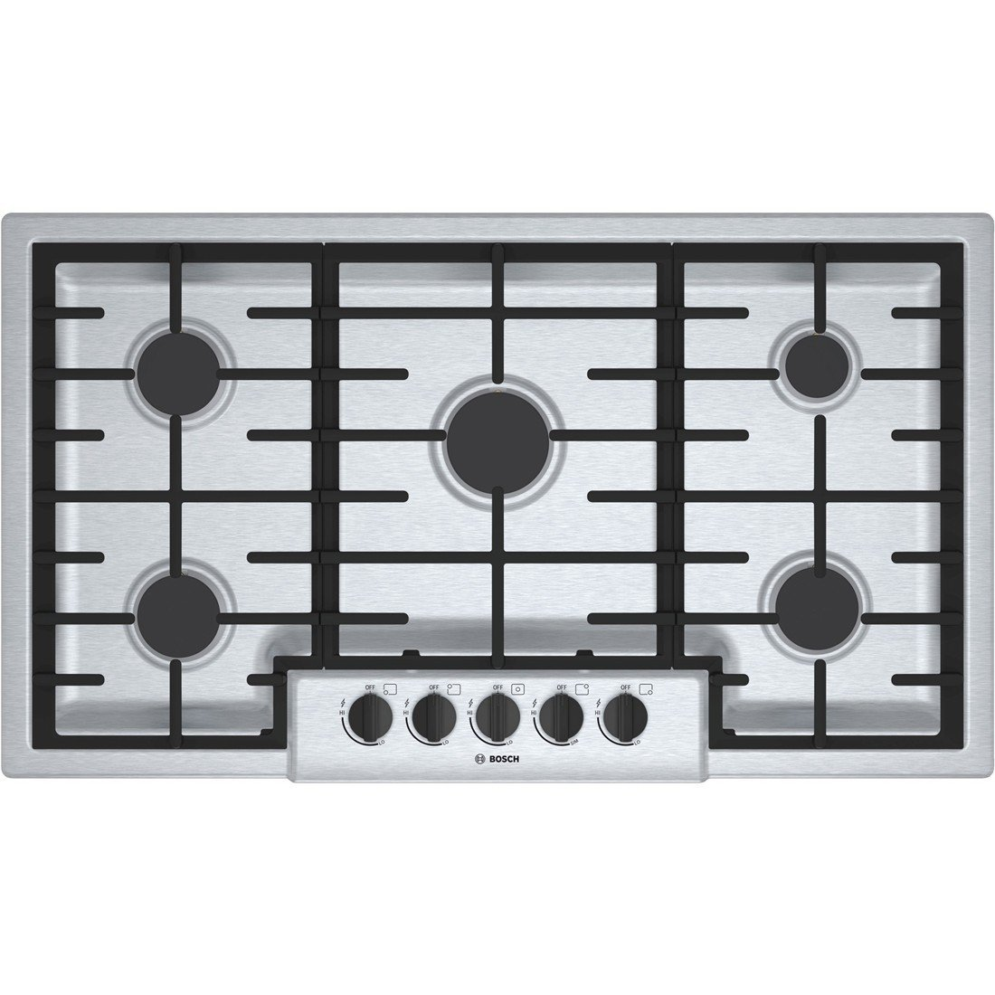 Bosch 500 Series 5-Burner Gas Stovetop – Stainless Steel Powerful 16,000 BTU Burner for Boiling, Searing and Stir-Frying