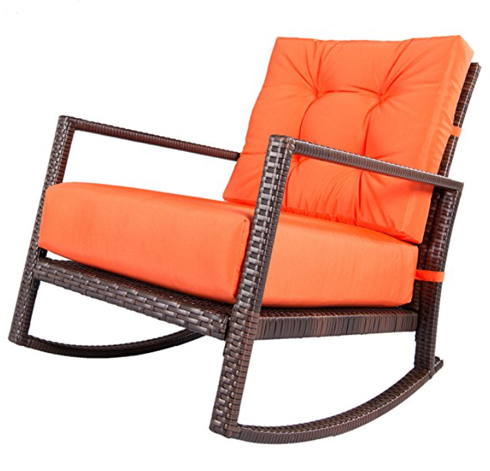 Suncrown Outdoor All-Weather Wicker Rocking Chair – Smooth Gliding, Washable Cushions, Available in 3 Colors