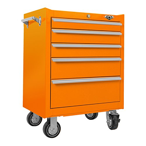 Viper Tool Storage 26-Inch 5-Drawer Steel Rolling Cabinet, Steel - Orange