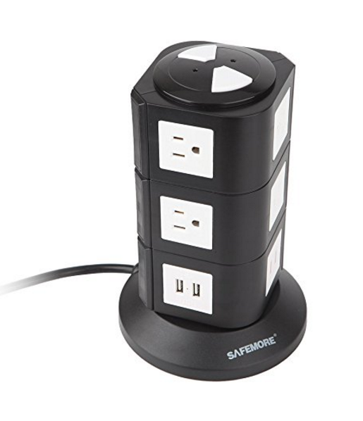 Safemore Smart 10-Outlet with 4-USB Surge Protection Power Socket - Vertical Power Stacker Origin Series, Worldwide Voltage Power Strip, Also Available with 6 Outlets