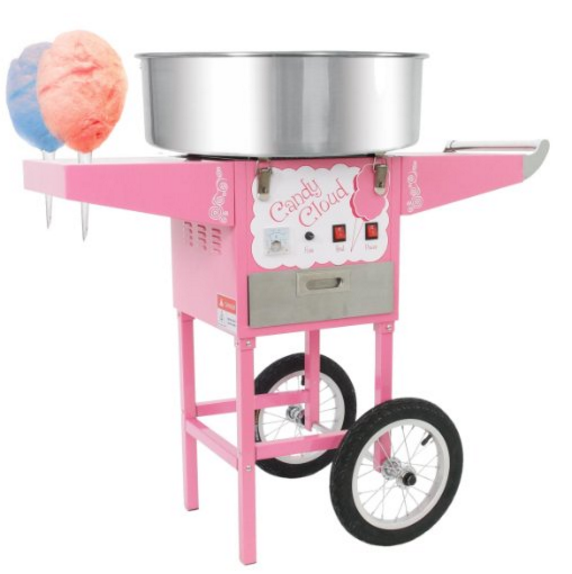 FuntimeCommercial Candy Cloud Cotton Candy Floss Machine with Mobile Wheeled Cart in Pink