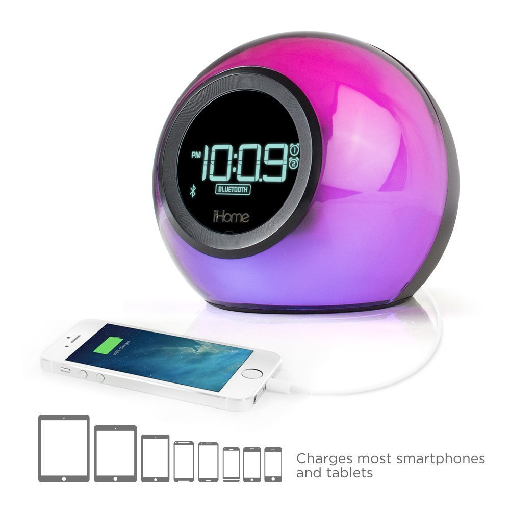 iHome Bluetooth Color Changing Dual Alarm Clock FM Radio with USB Charging and Speakerphone