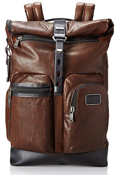 Tumi Roll Top Leather Backpack