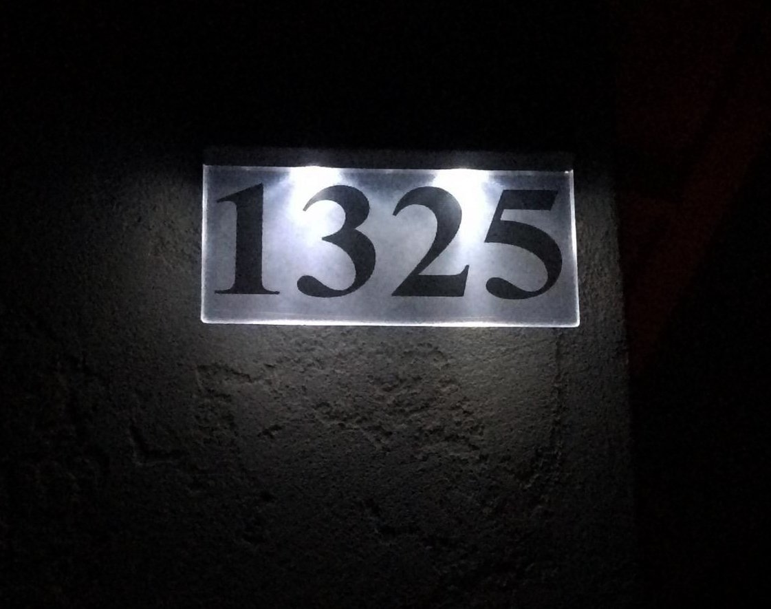 Acrylic Master LED Elite Combi Solar Powered House Number Plaque