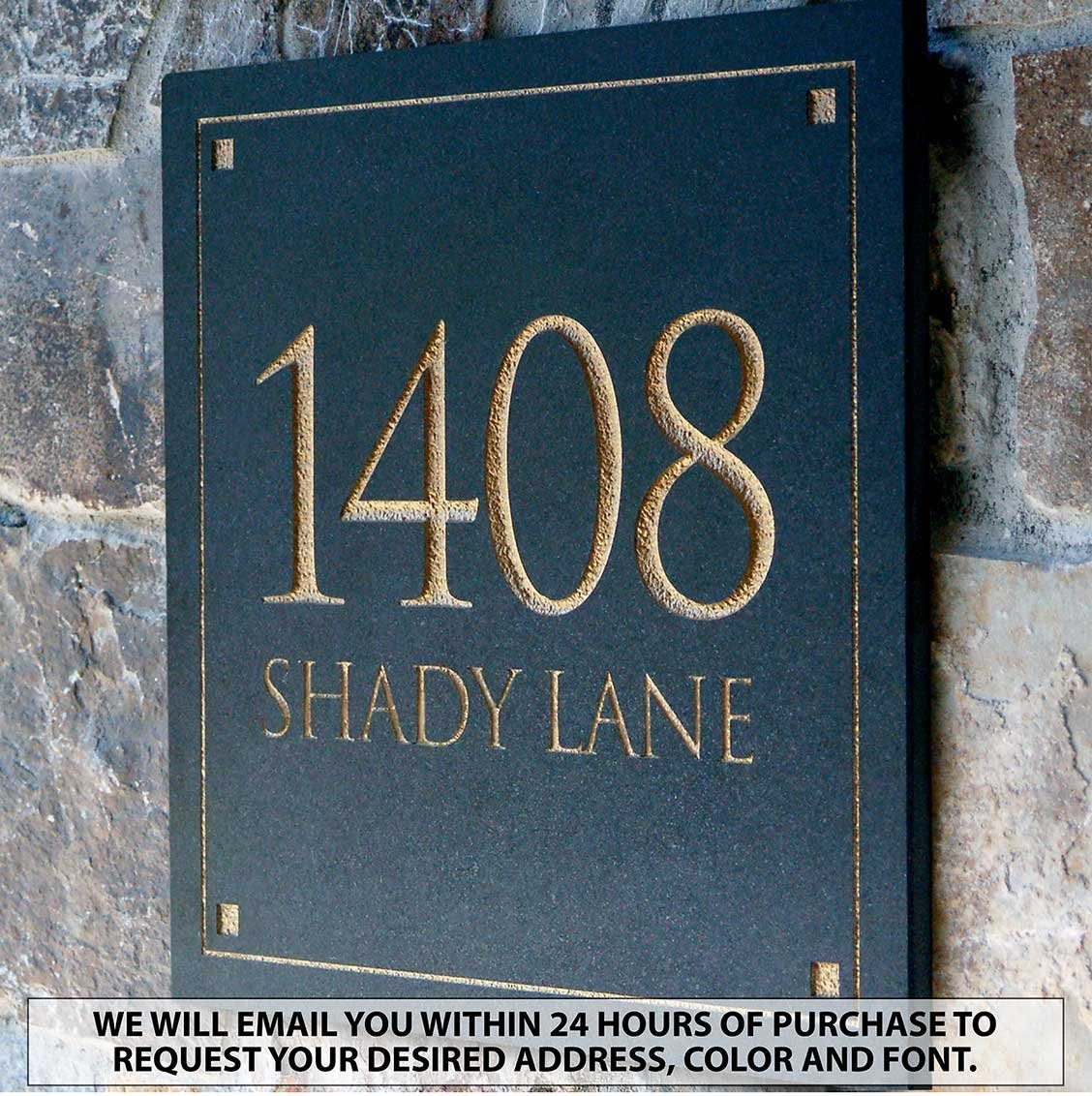 Clarus Crystal Engraved Stone Address Plaque, Available in 2 Letter Styles