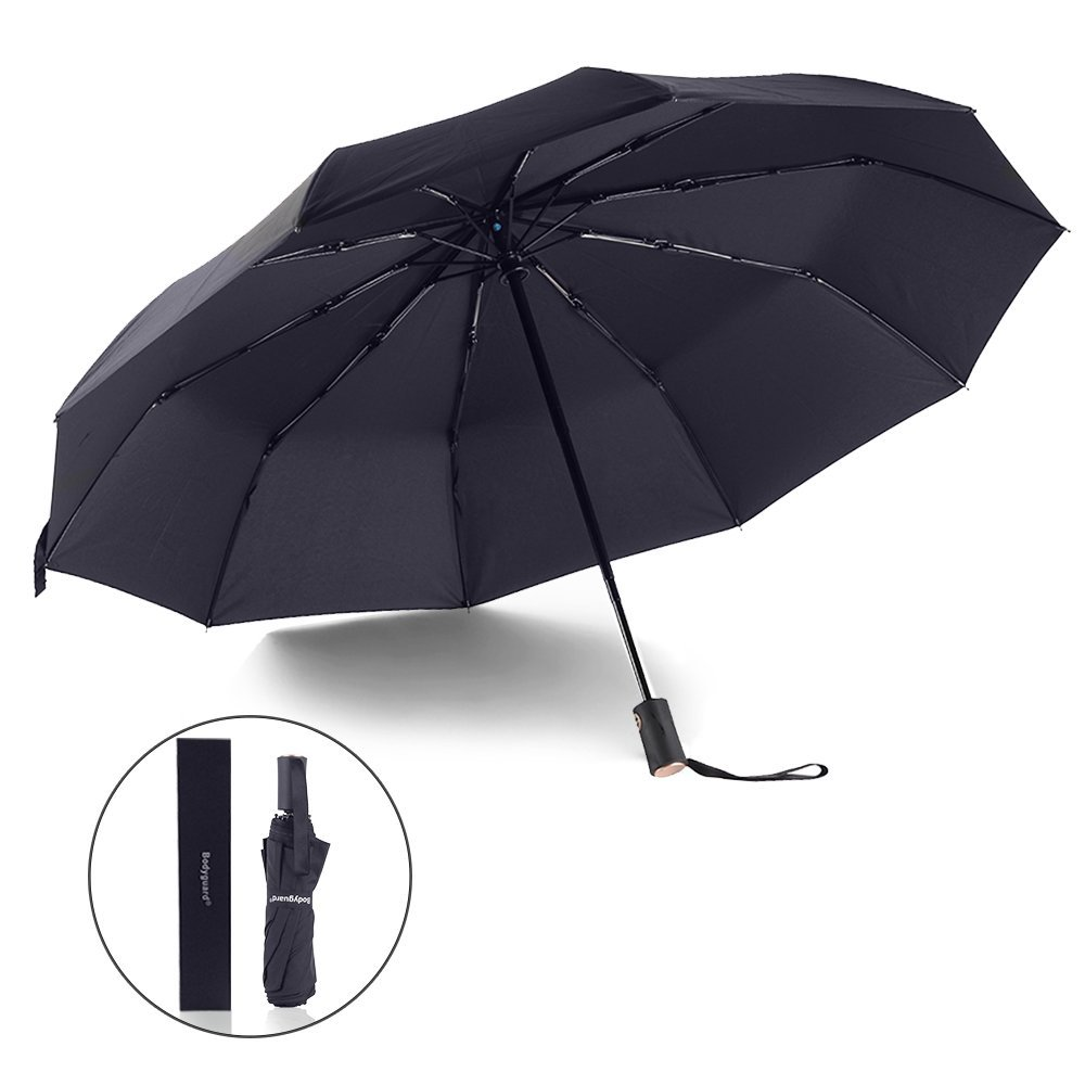 Bodyguard Black Travel Umbrella with Auto Open/Close