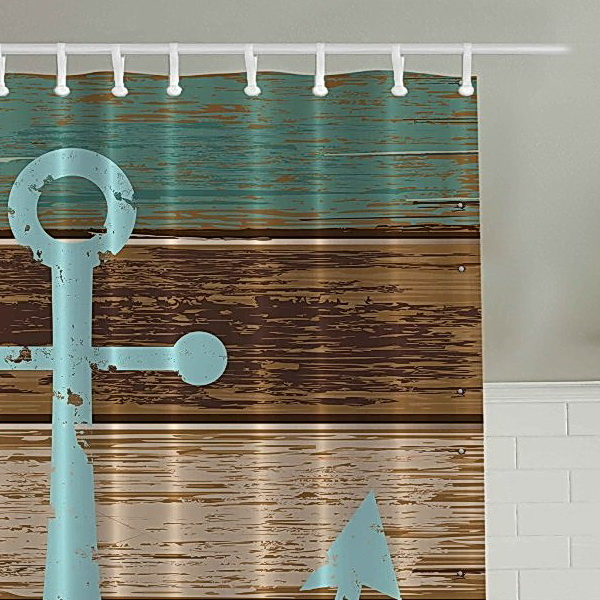 Ambesonne Blue Anchor Wooden Boat Shower Curtain