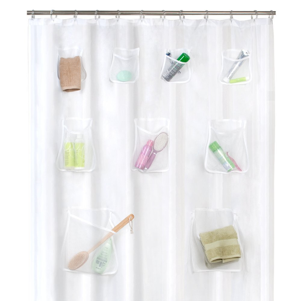 Maytex Mesh Pockets PEVA Shower Curtain with 9 Storage Pockets, Made from Durable Vinyl