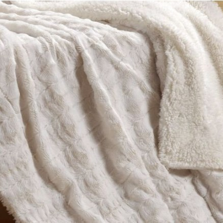 Tache Home Fashion White Ivory Super Soft Warm Polar Faux Fur with Sherpa Throw Blanket – Available in 2 Sizes